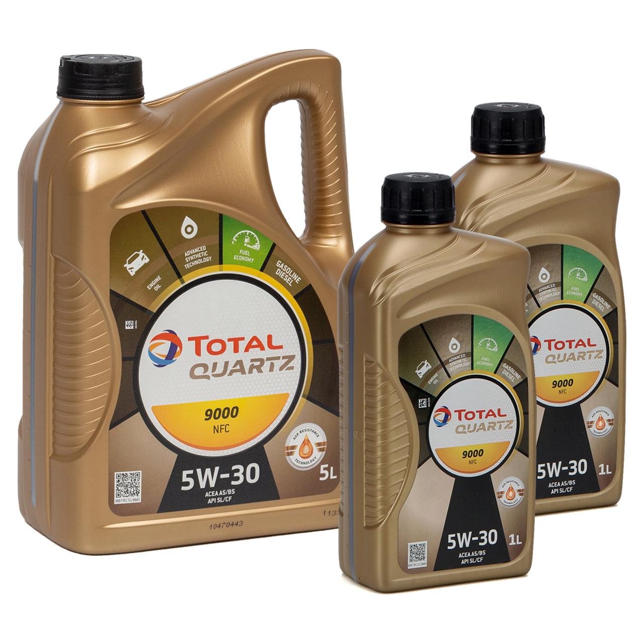 7L 7 Liter TOTAL Motoröl Öl QUARTZ 9000 NFC 5W-30 ACEA A5/B5 FORD WSS-M2C913-D