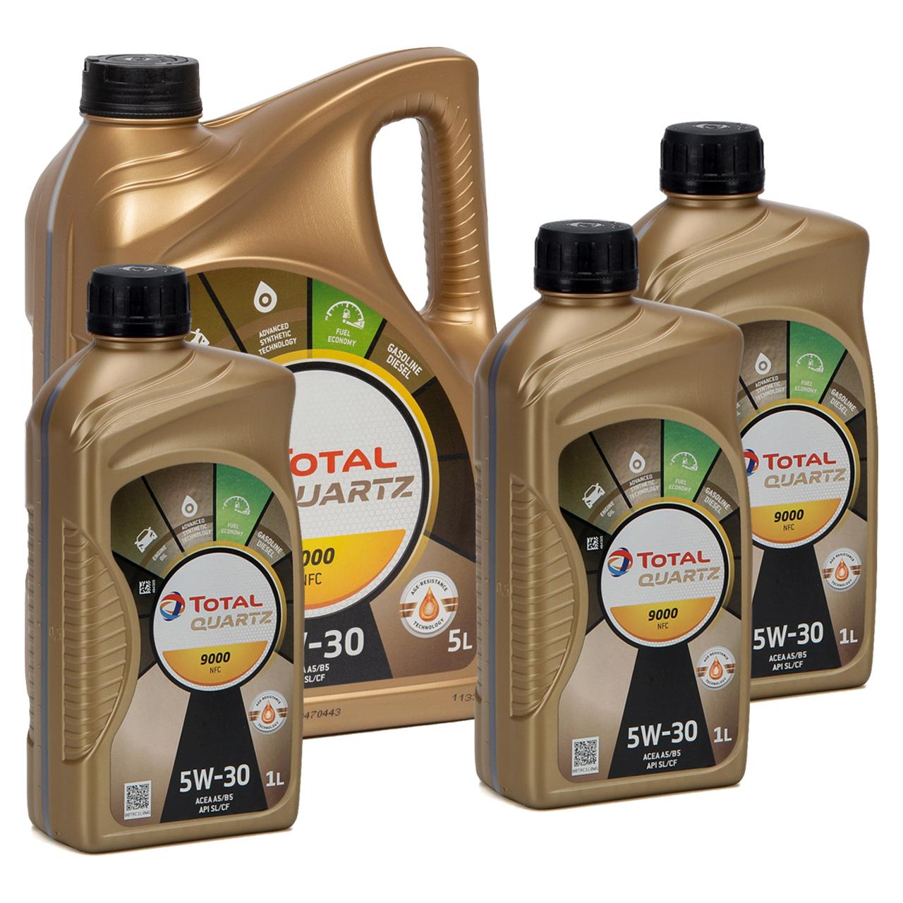 8L 8 Liter TOTAL Motoröl Öl QUARTZ 9000 NFC 5W-30 ACEA A5/B5 FORD WSS-M2C913-D