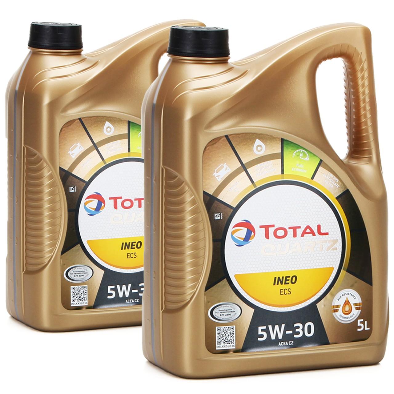 TOTAL QUARTZ INEO ECS 5W-30 Motoröl ACEA C2 PSA B71 2290 TOYOTA - 10L 10 Liter