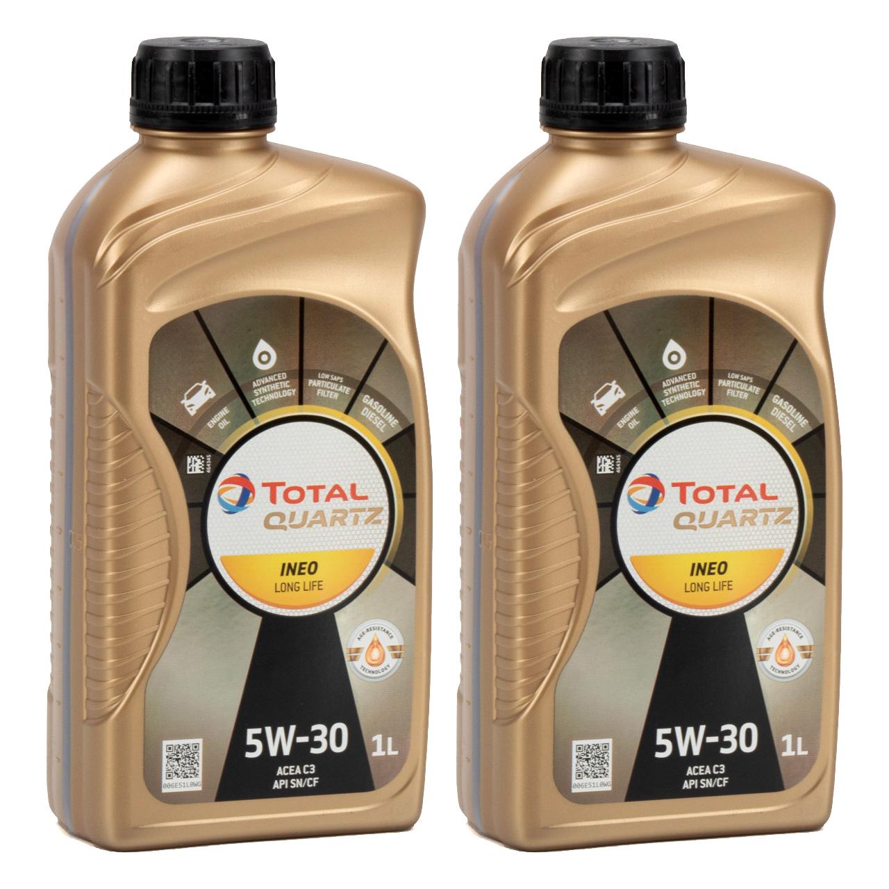 TOTAL QUARTZ INEO LONGLIFE 5W30 Motoröl Öl VW 504/507.00 MB 229.51 - 2L 2 Liter