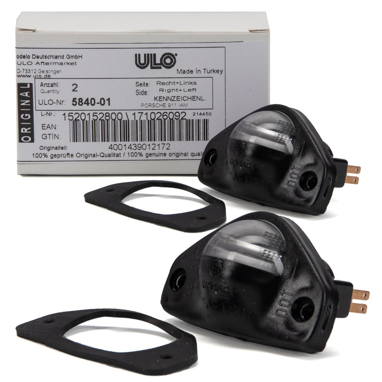 2x ULO Kennzeichenleuchte Nummernschildbeleuchtung für PORSCHE 911 1963-1990