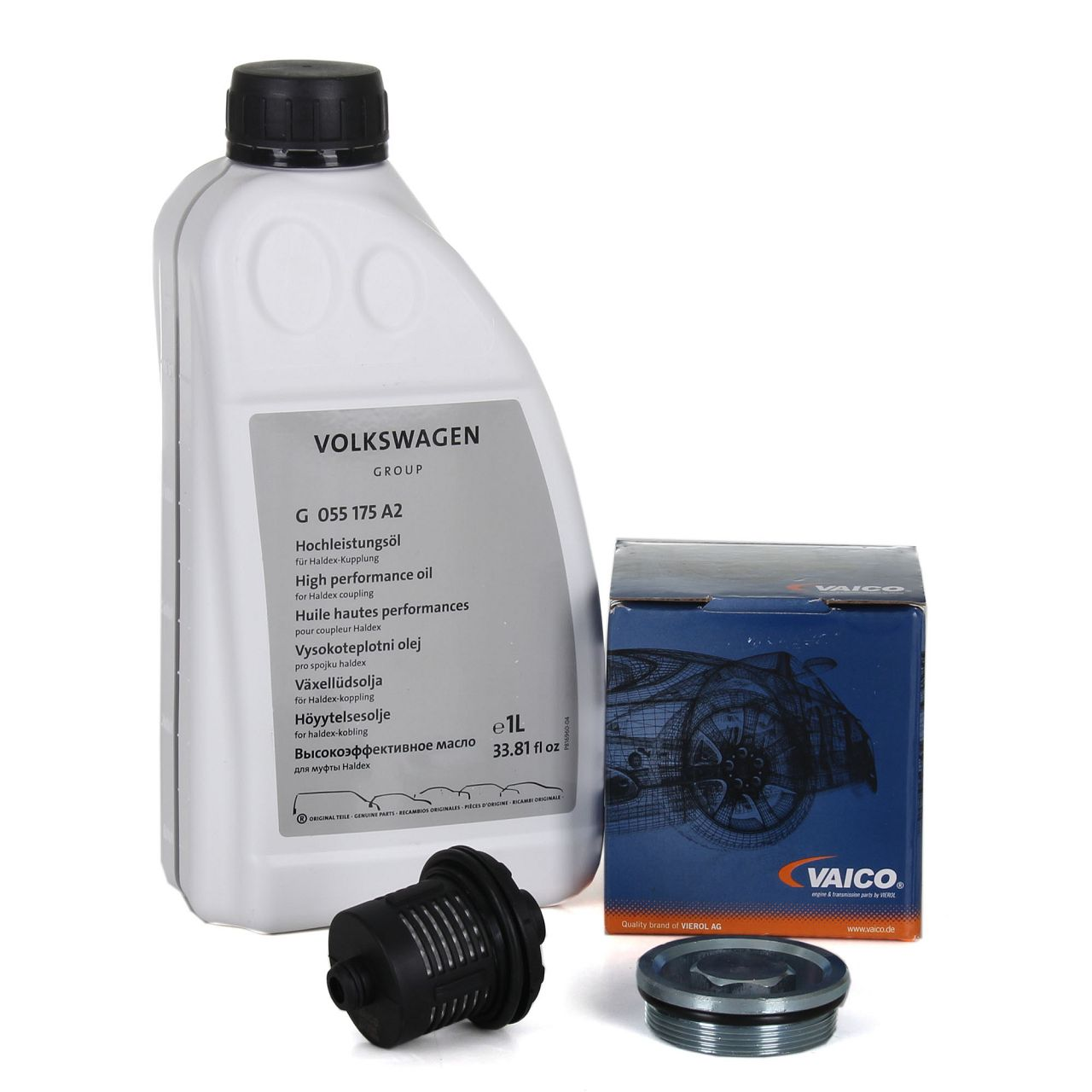VAICO Getriebefilter + ORIGINAL VAG Hochleistungsöl Haldex-Öl ALLRAD HALDEX 1L