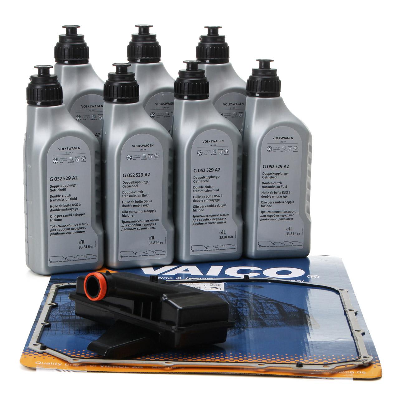 VAICO Hydraulikfilter 7-Gang S-Tronic DL501 + 7L ORIGINAL Getriebeöl G052529A2