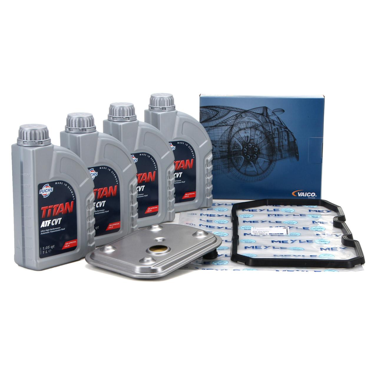 VAICO Hydraulikfilter Automatik + 4L FUCHS Getriebeöl MERCEDES W169 W245 722.8