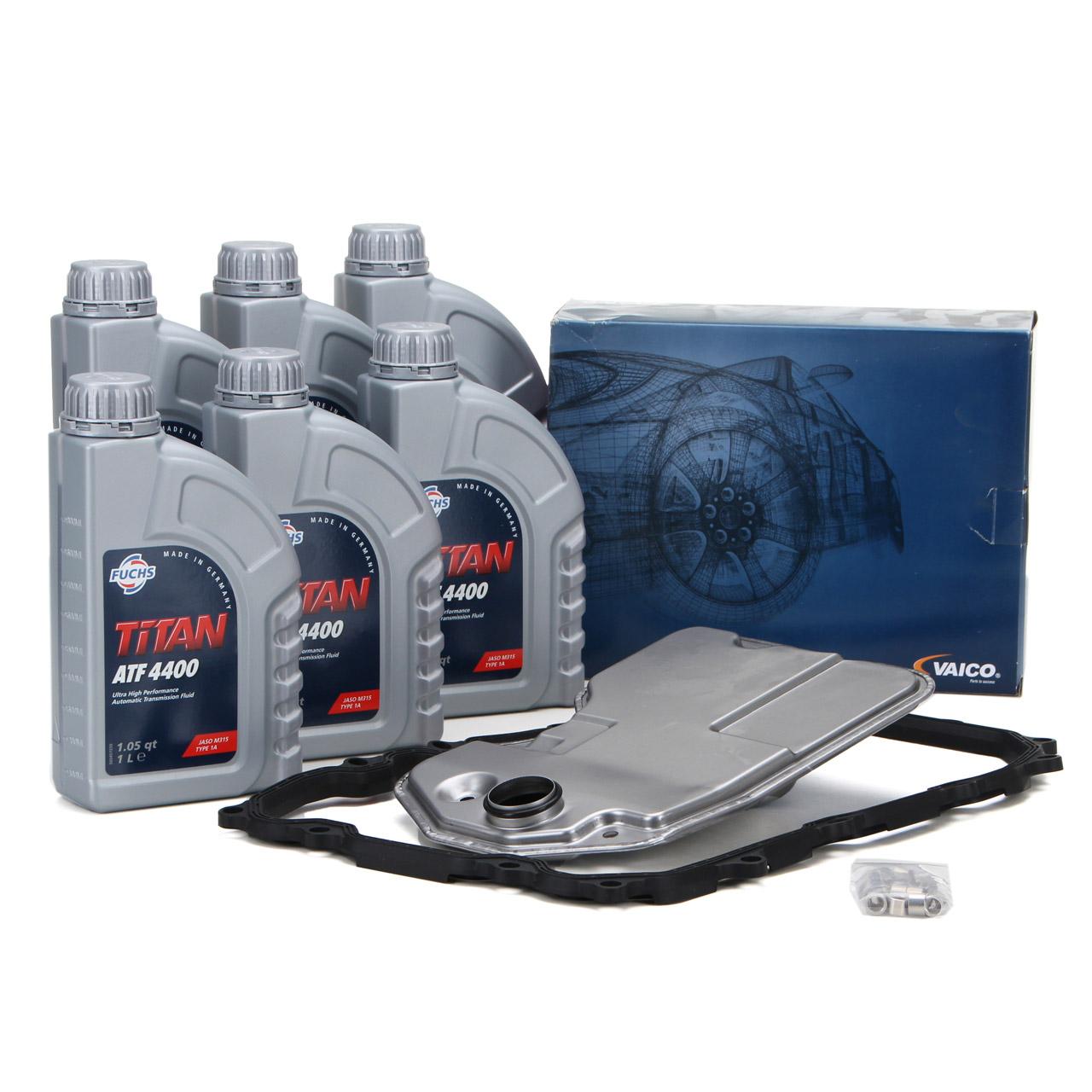 VAICO Hydraulikfilter Automatikgetriebe + 6L FUCHS Getriebeöl Q7 CAYENNE TOUAREG