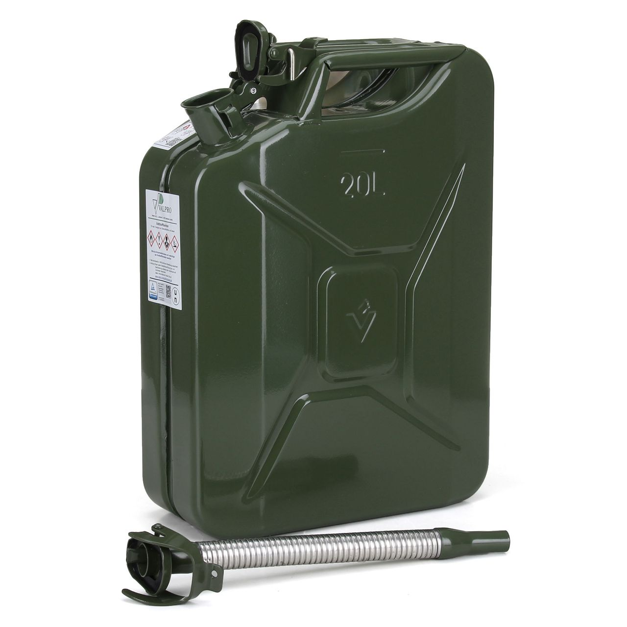 VALPRO Kanister Benzinkanister METALL 20 Liter + Einfüllstutzen Ausgießer BENZIN