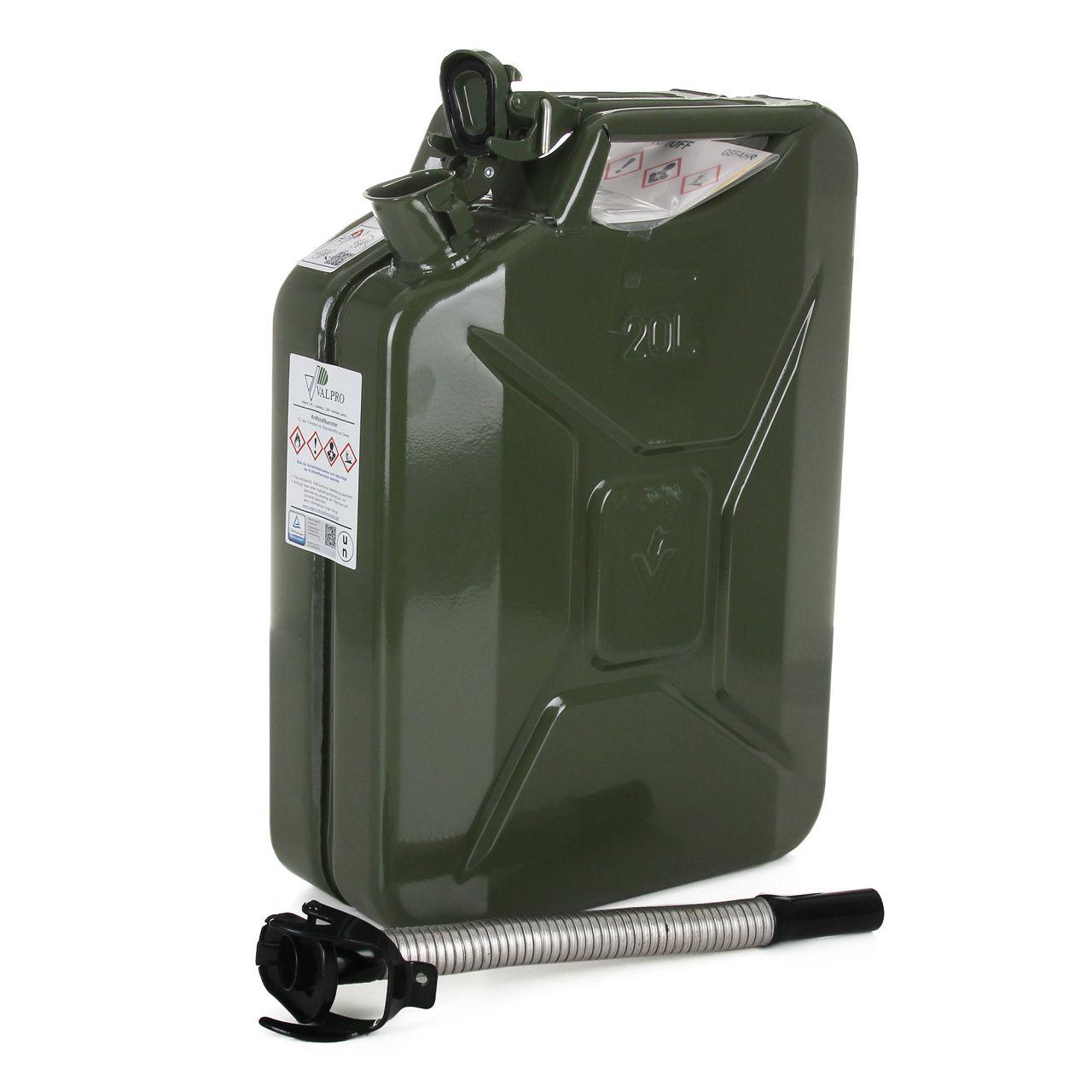 VALPRO Dieselkanister GGVS METALL 20 Liter + Einfüllstutzen Ausgießer DIESEL