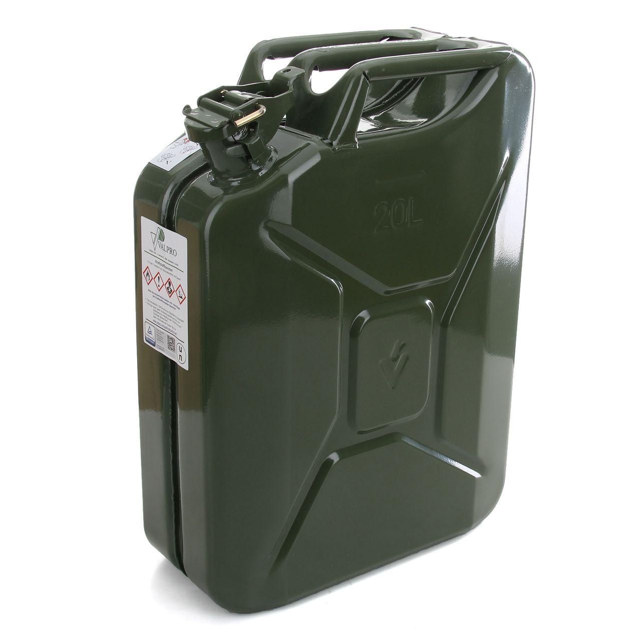 VALPRO Benzinkanister Reservekanister mit Sicherungsstift GGVS METALL 20 Liter