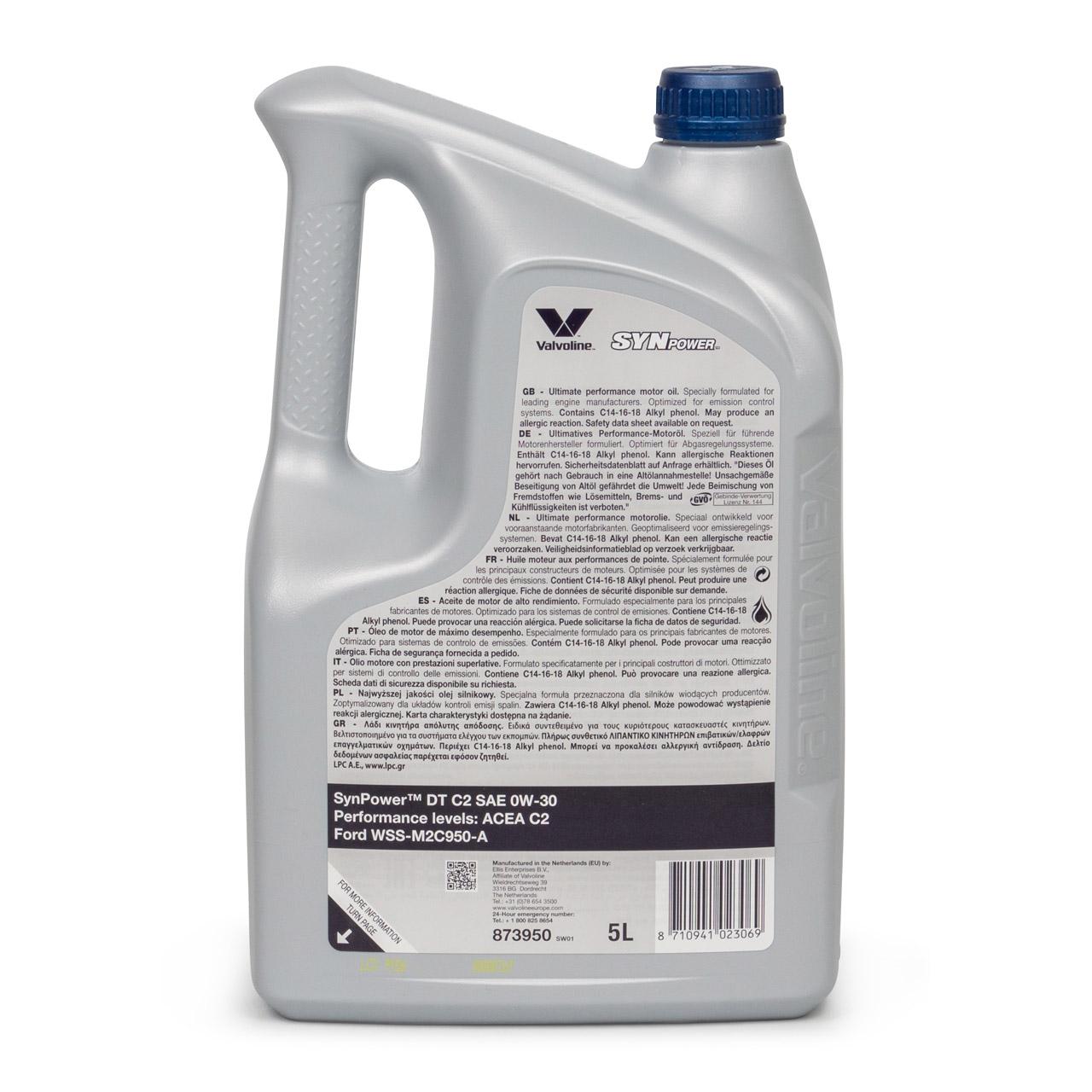 VALVOLINE Motoröl ÖL SYNPOWER DT C2 0W-30 für Ford WSS-M2C950-A - 5L 5 Liter