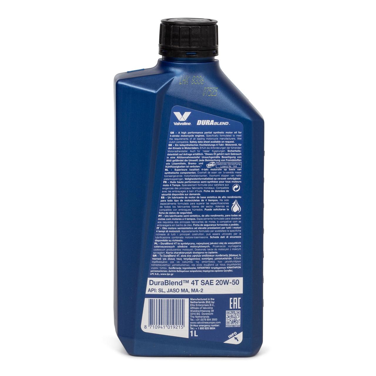 VALVOLINE Motoröl ÖL DURABLEND 4T 20W-50 20W50 4-TAKT MOTORRAD - 1L 1 Liter