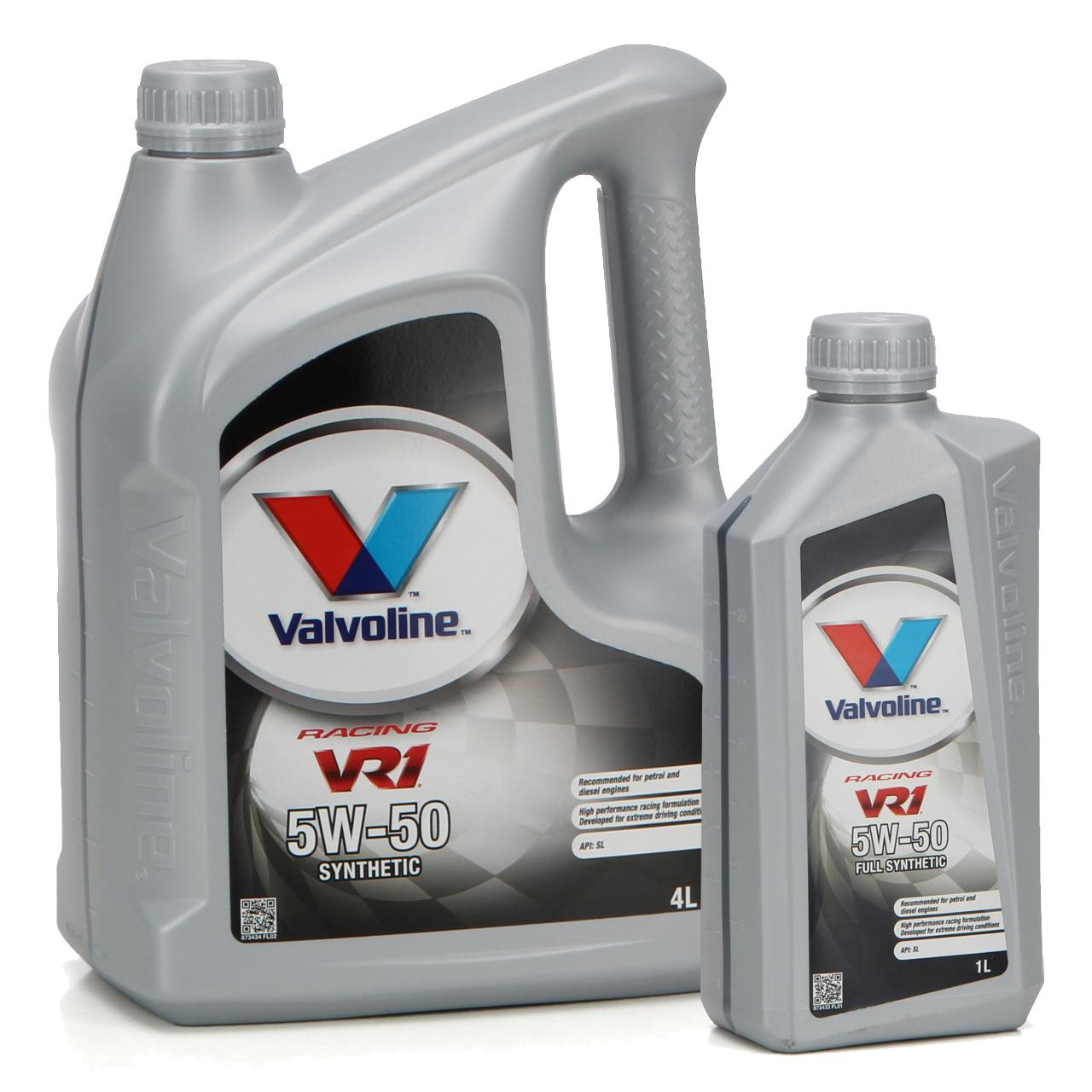 VALVOLINE Motoröl ÖL VR1 RACING 5W50 SM A3/B4 Ford M2C-153E GM 6094M - 5 Liter