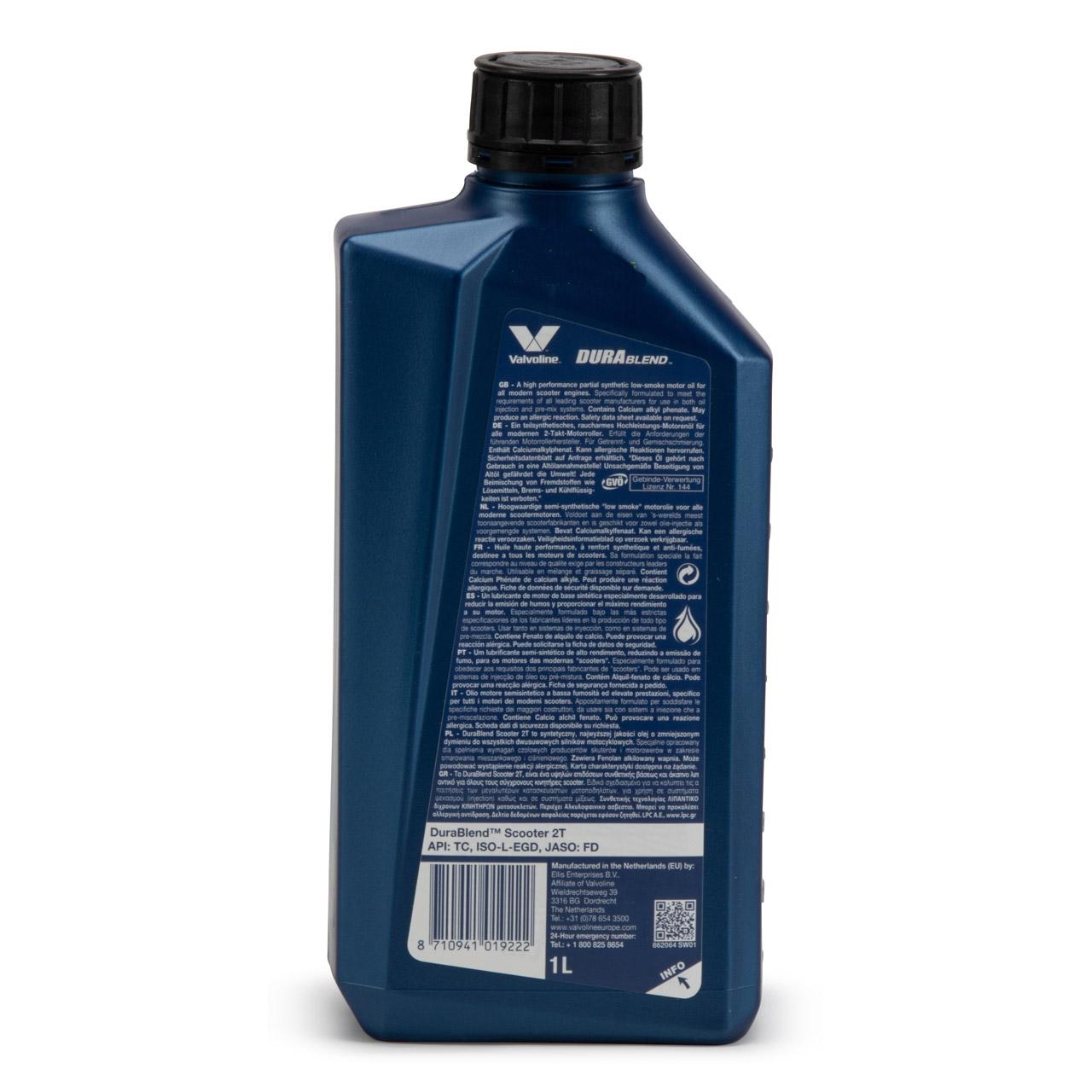 VALVOLINE Motoröl ÖL DURABLEND 2-TAKT API TC ISO-L-EGD JASO FD - 1L 1 Liter