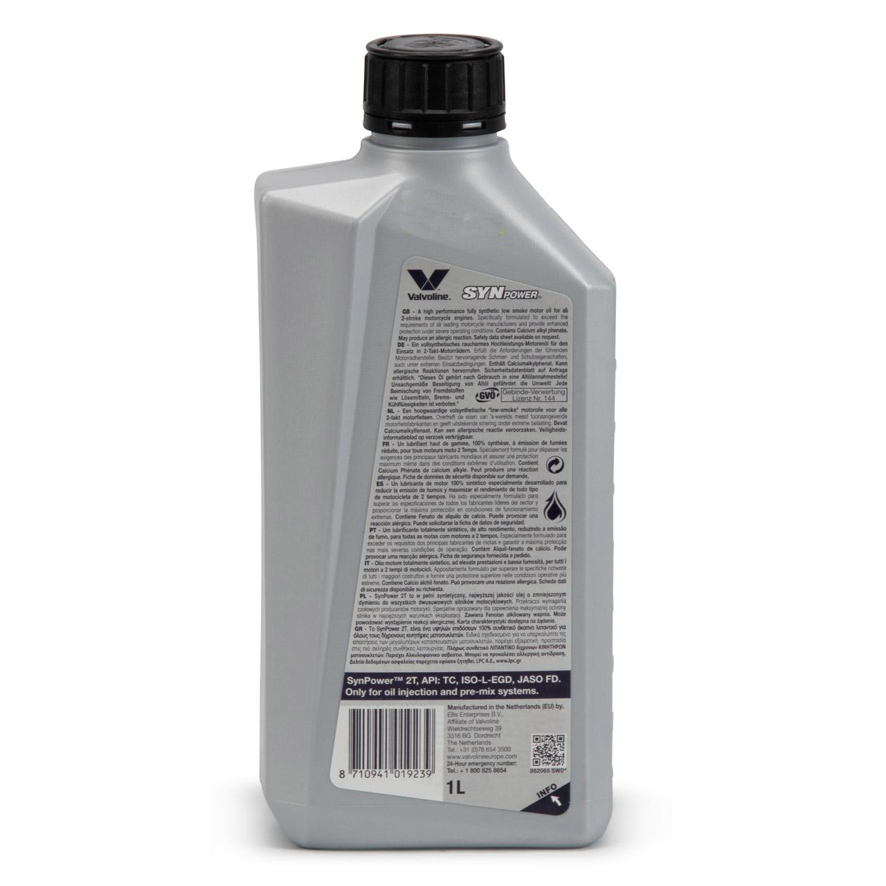 VALVOLINE Motoröl ÖL SYNPOWER 2-TAKT API TC ISO-L-EGD JASO FD - 1L 1 Liter