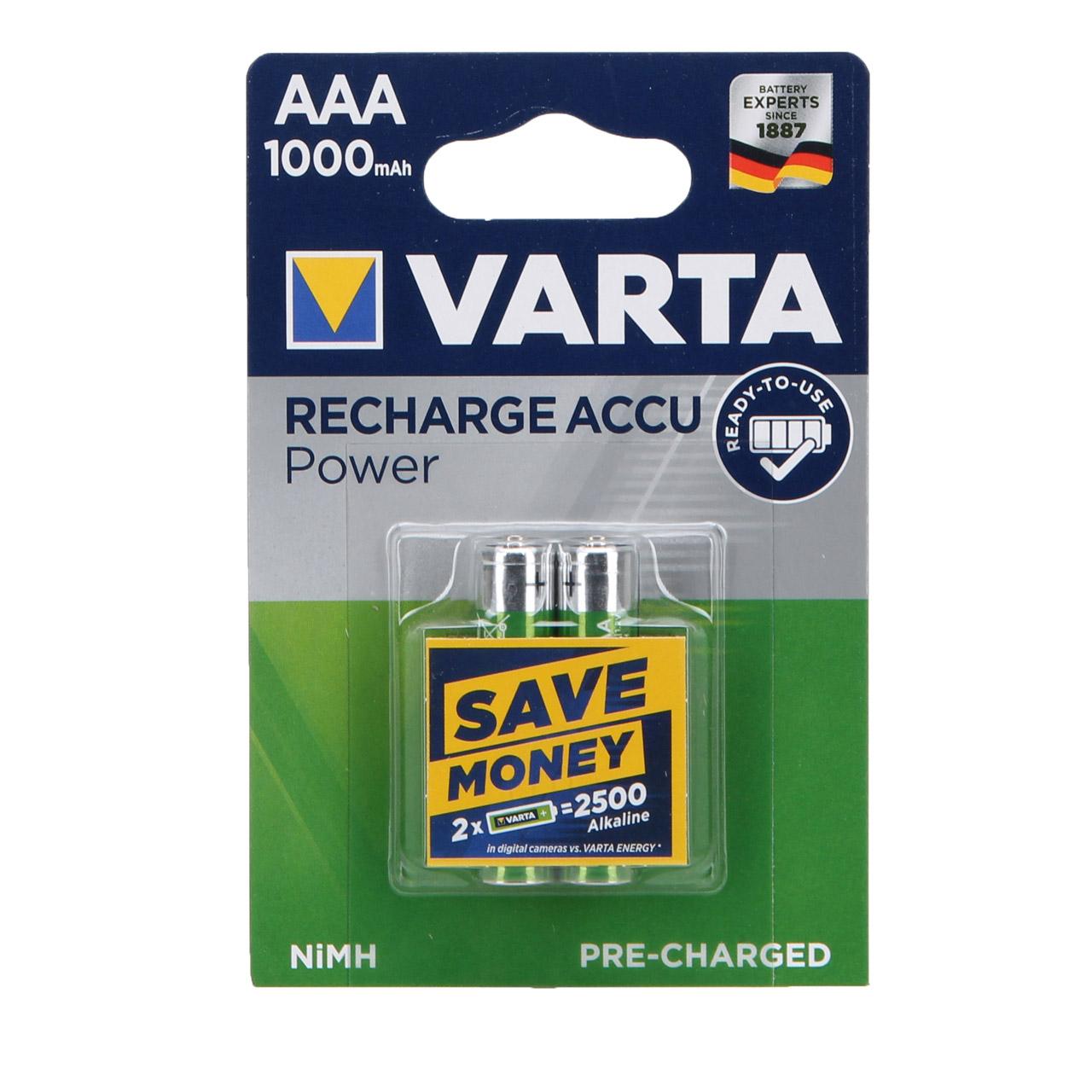 2x VARTA Batterie Akku Ready2Use MICRO AAA 1,2 V HR03 1000mAh