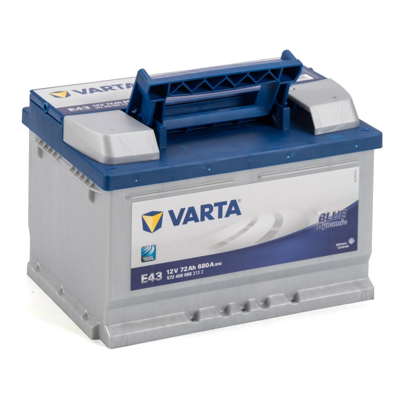 VARTA BLUE dynamic E43 Autobatterie Batterie Starterbatterie 12V 72Ah 680A