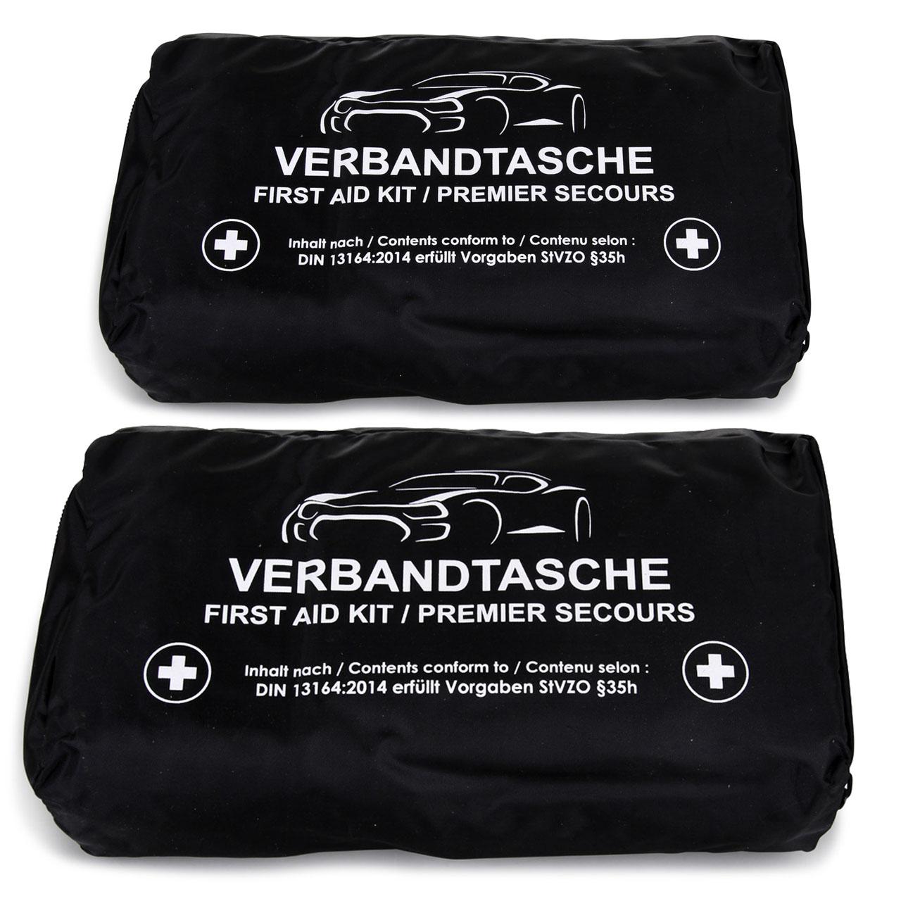 2x KFZ Auto Verbandkasten Verbandskasten SCHWARZ Erste Hilfe MHD 07.2024