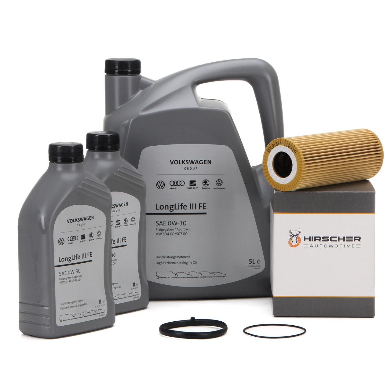 ORIGINAL VW Motoröl Öl 0W30 LONGLIFE III FE 7 L + HIRSCHER Ölfilter 06E115562C