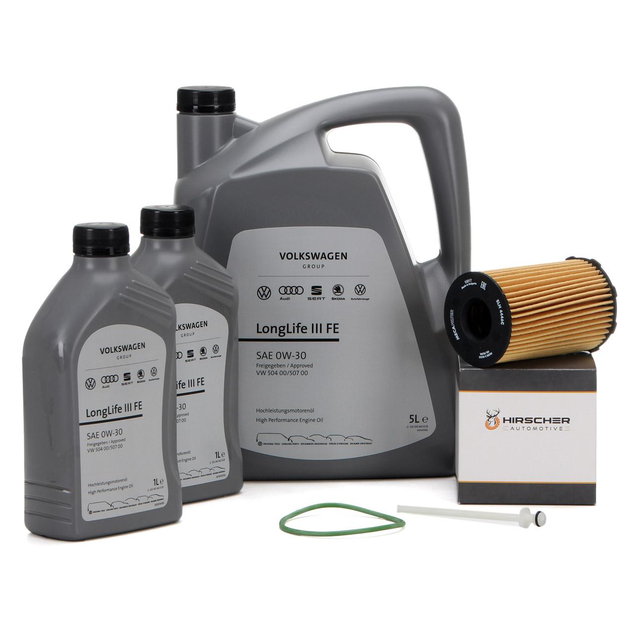 ORIGINAL VW Motoröl Öl 0W30 LONGLIFE III FE 7 L + HIRSCHER Ölfilter 059198405