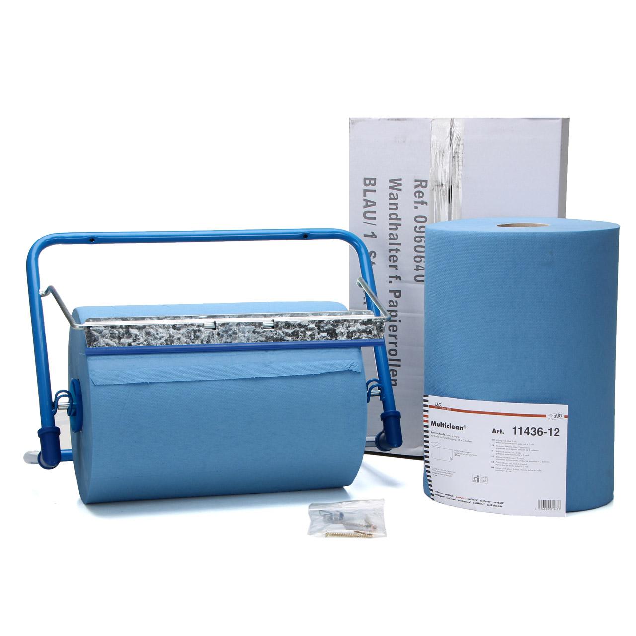 Wandhalter Putztuchrollenhalter bis 38cm + 2x Papiertücher Putztücher 2-LAGIG
