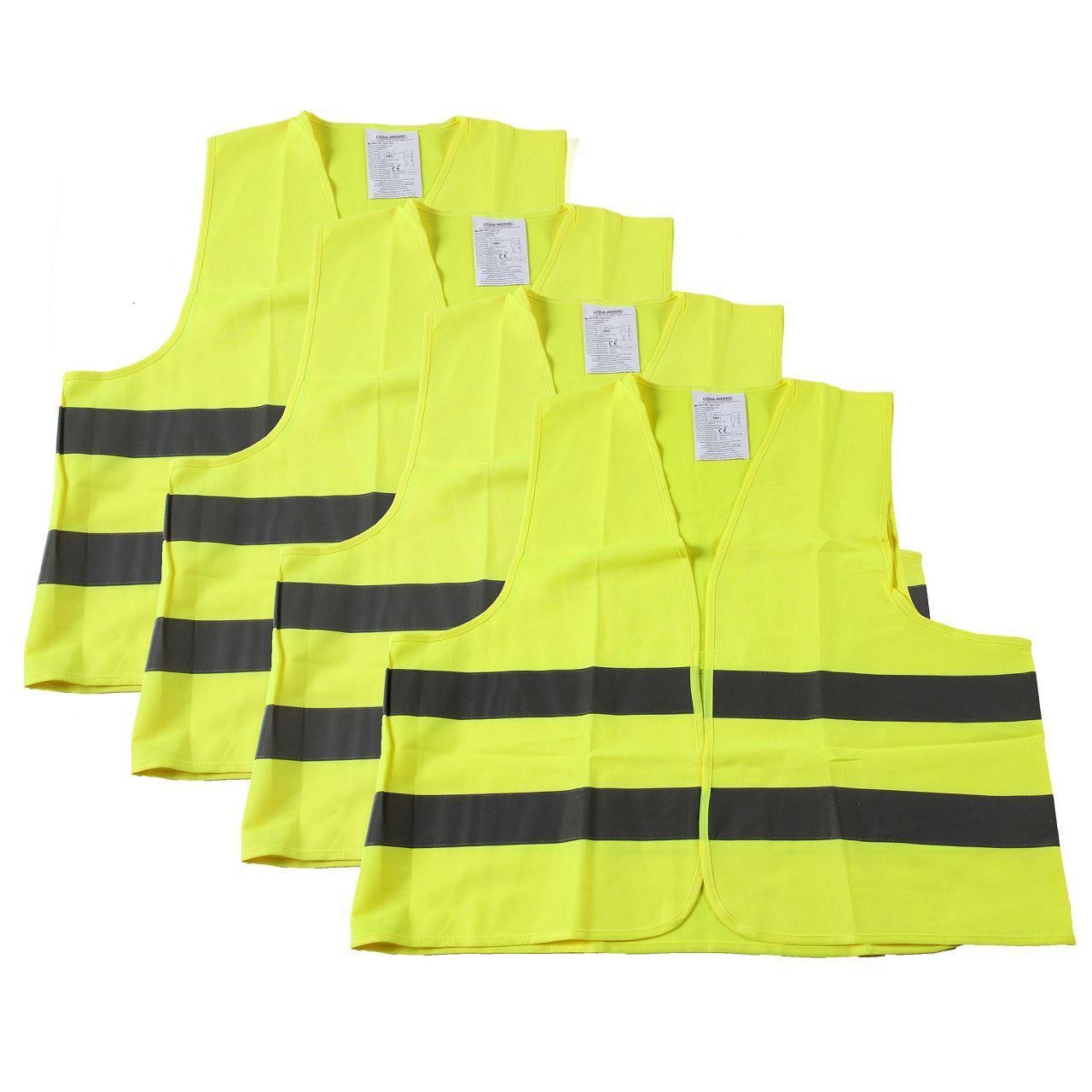 4x Warnweste Warnschutzweste Sicherheitsweste GELB Größe XL EN ISO 20471
