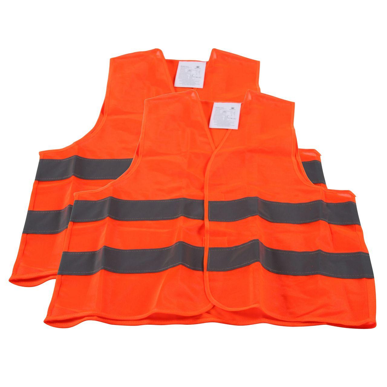 2x Warnweste Warnschutzweste Sicherheitsweste ORANGE Größe XL EN ISO 20471