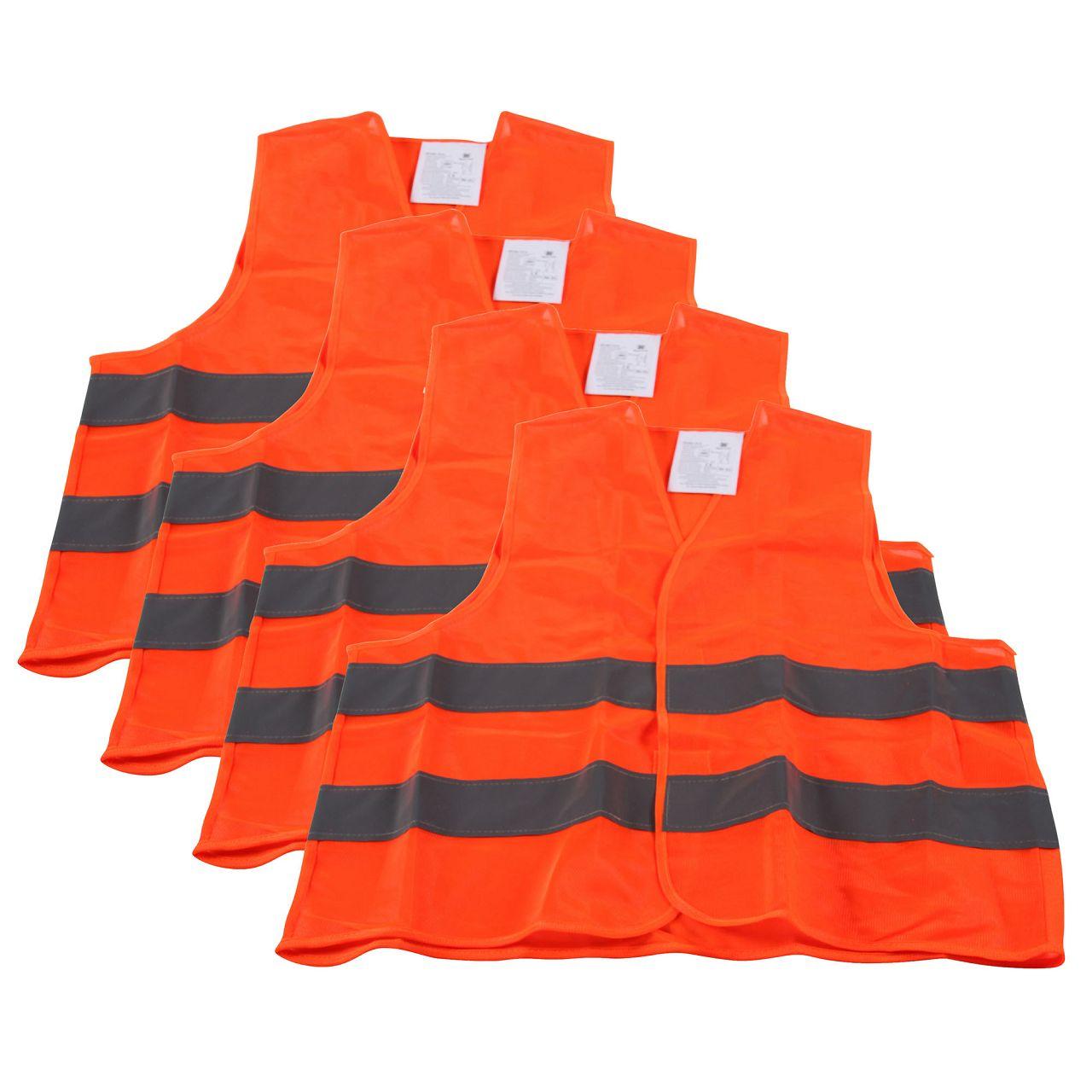 4x Warnweste Warnschutzweste Sicherheitsweste ORANGE Größe XL EN ISO 20471