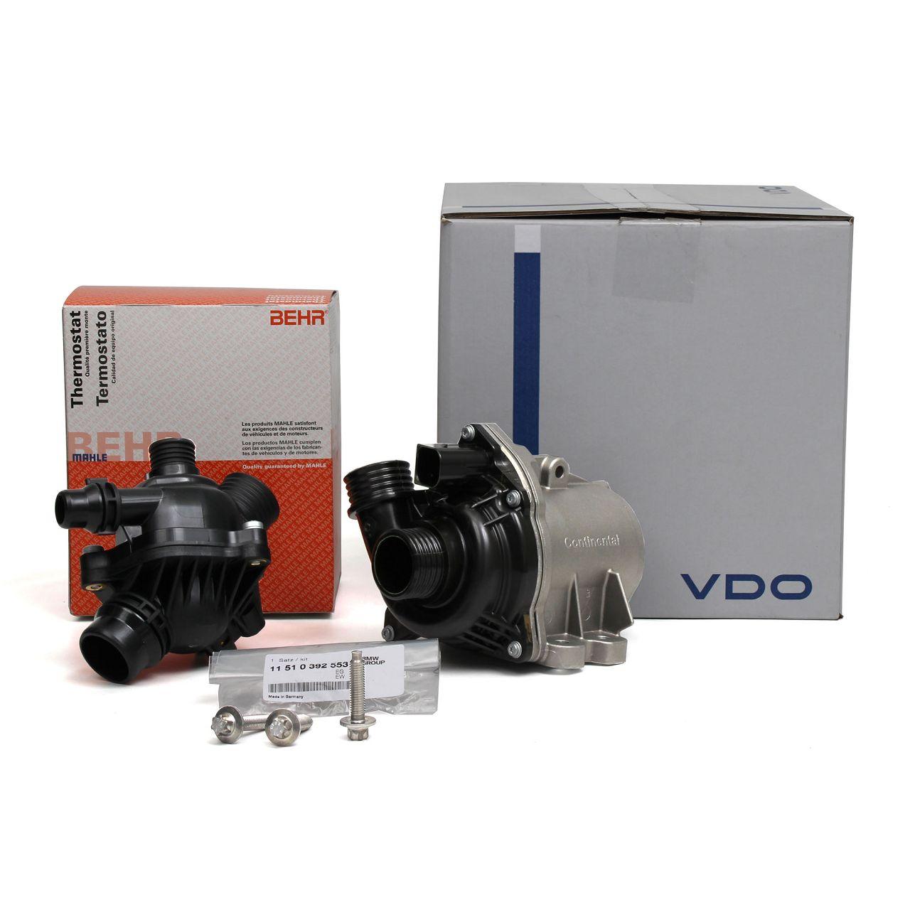 VDO Wasserpumpe + ORIGINAL BMW Schrauben Satz + BEHR / MAHLE Thermostat für BMW 1er 3er