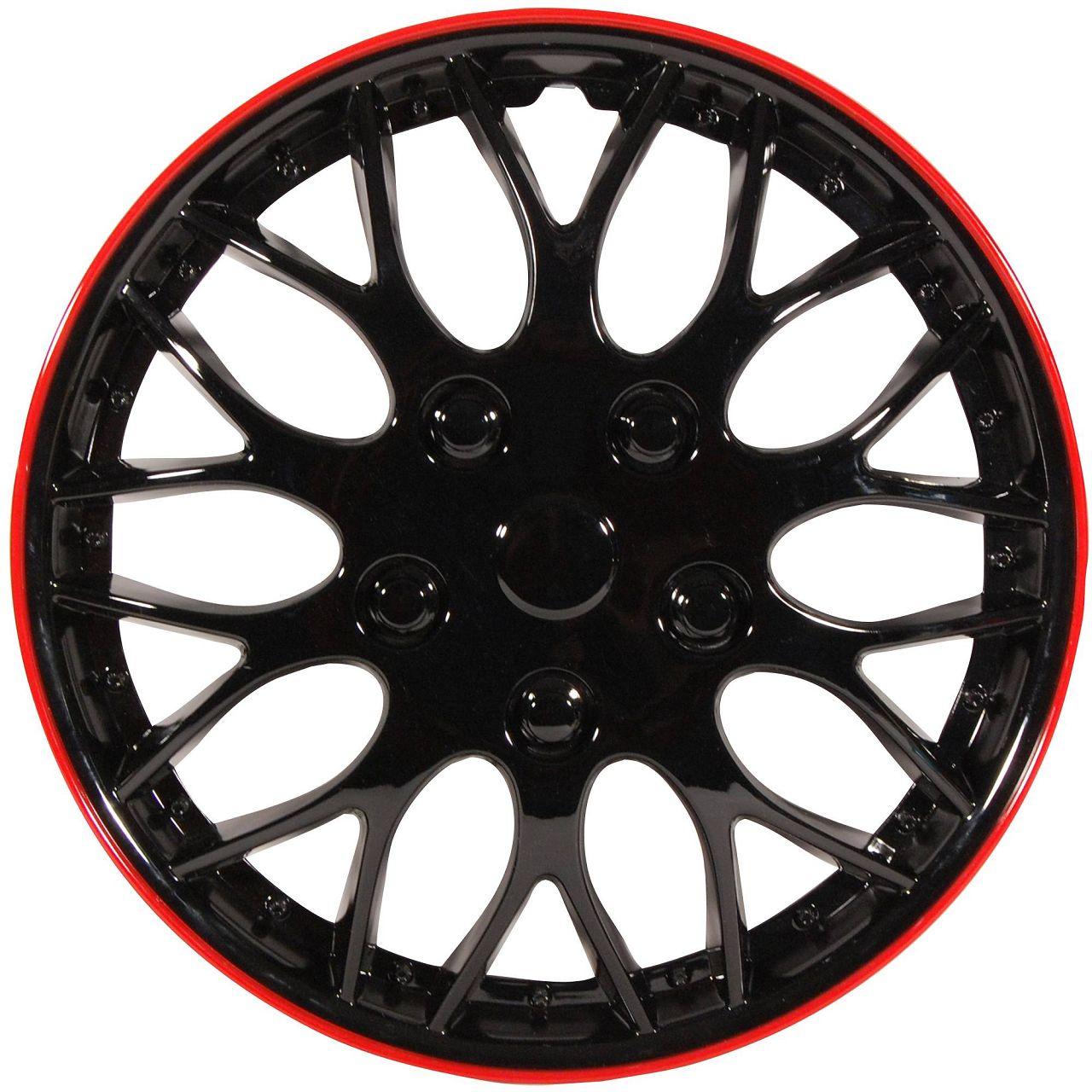 4x Radkappen Radblenden MIAMI SCHWARZ ROT BLACK RED 15 Zoll (4 Stück)