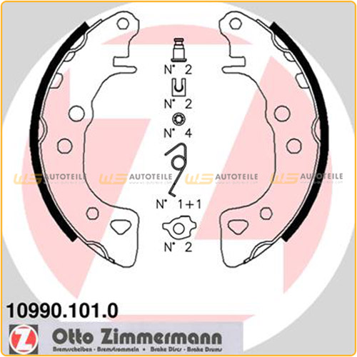 ZIMMERMANN 10990.101.0 Bremsbacken Satz CITROEN AX Saxo FIAT Uno PEUGEOT 106 hinten