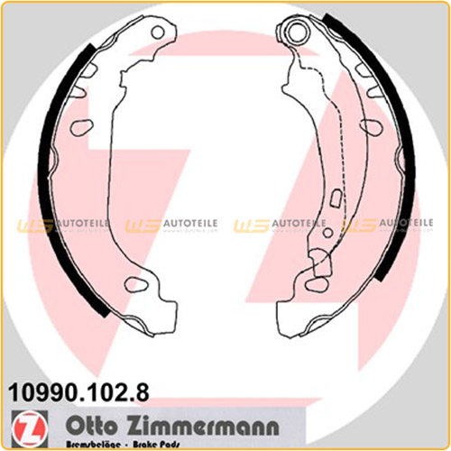 ZIMMERMANN Bremsbacken Satz für Peugeot 206 1.4i 1.6i 1.4HDieco70 1.9D