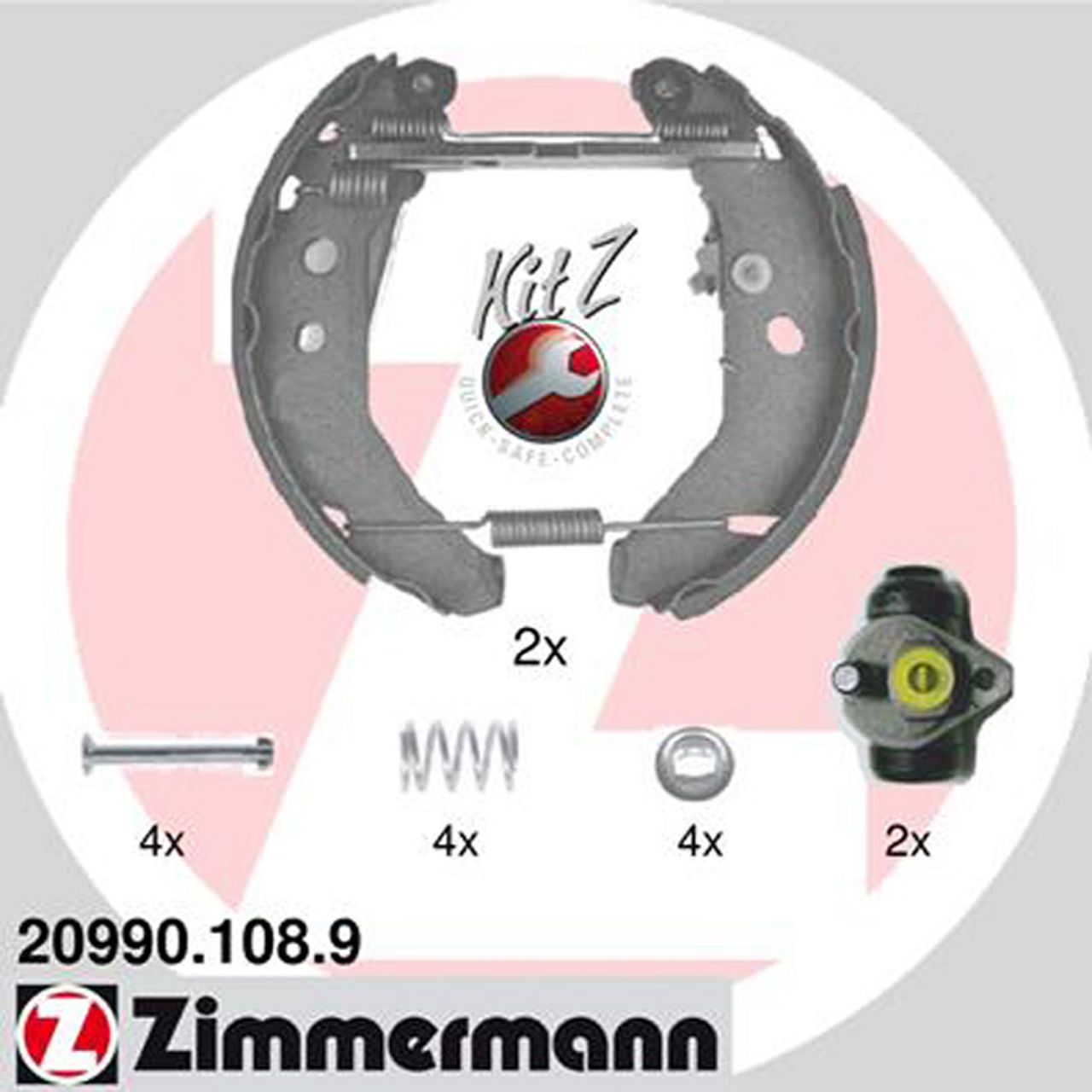ZIMMERMANN Bremsbacken + Radbremszylinder Satz für Ford Fiesta III ohne SCS