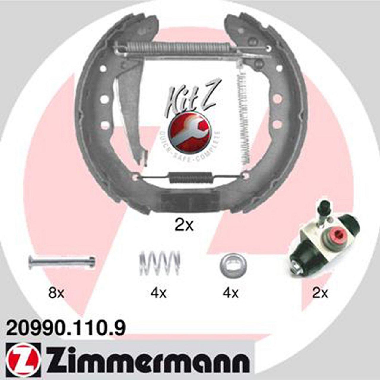 ZIMMERMANN Bremsbacken + Radbremszylinder für Audi 100 80 Inca Caddy II Passat