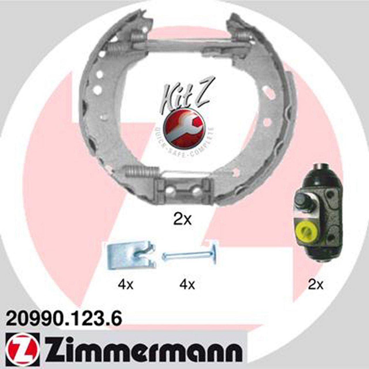 ZIMMERMANN Bremsbacken + Radbremszylinder für Ford Courier Escort Fiesta Kasten