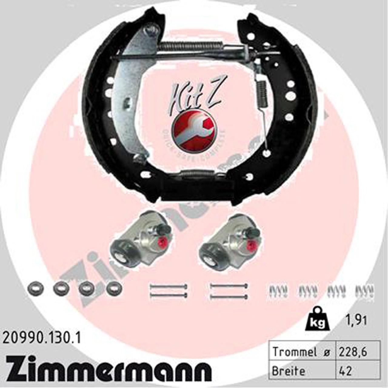 ZIMMERMANN Bremsbacken + Radbremszylinder für RENAULT CLIO II TWINGO II hinten