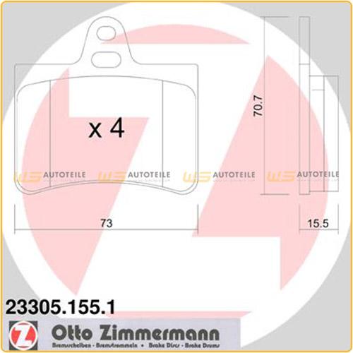 ZIMMERMANN Bremsen Kit Bremsscheiben + Bremsbeläge für Citroen C5 I II hinten