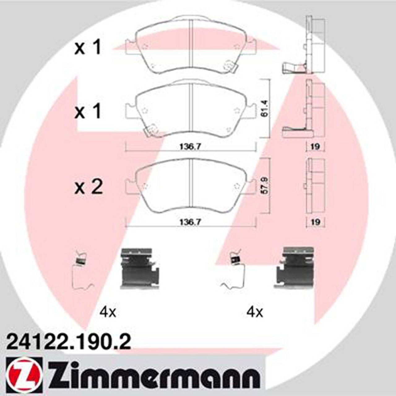 ZIMMERMANN Bremsscheiben + Beläge für TOYOTA AURIS (E15) 1.33-1.8 1.4 D-4D vorne