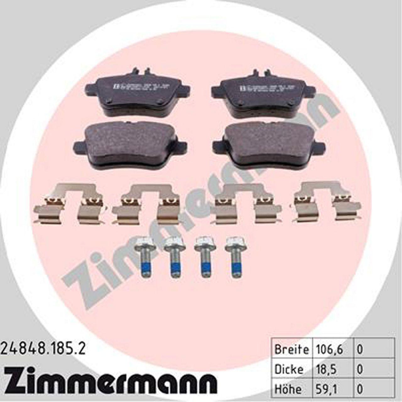 ZIMMERMANN Bremsen Bremsscheiben + Bremsbeläge für MERCEDES SLC SLK R172 hinten