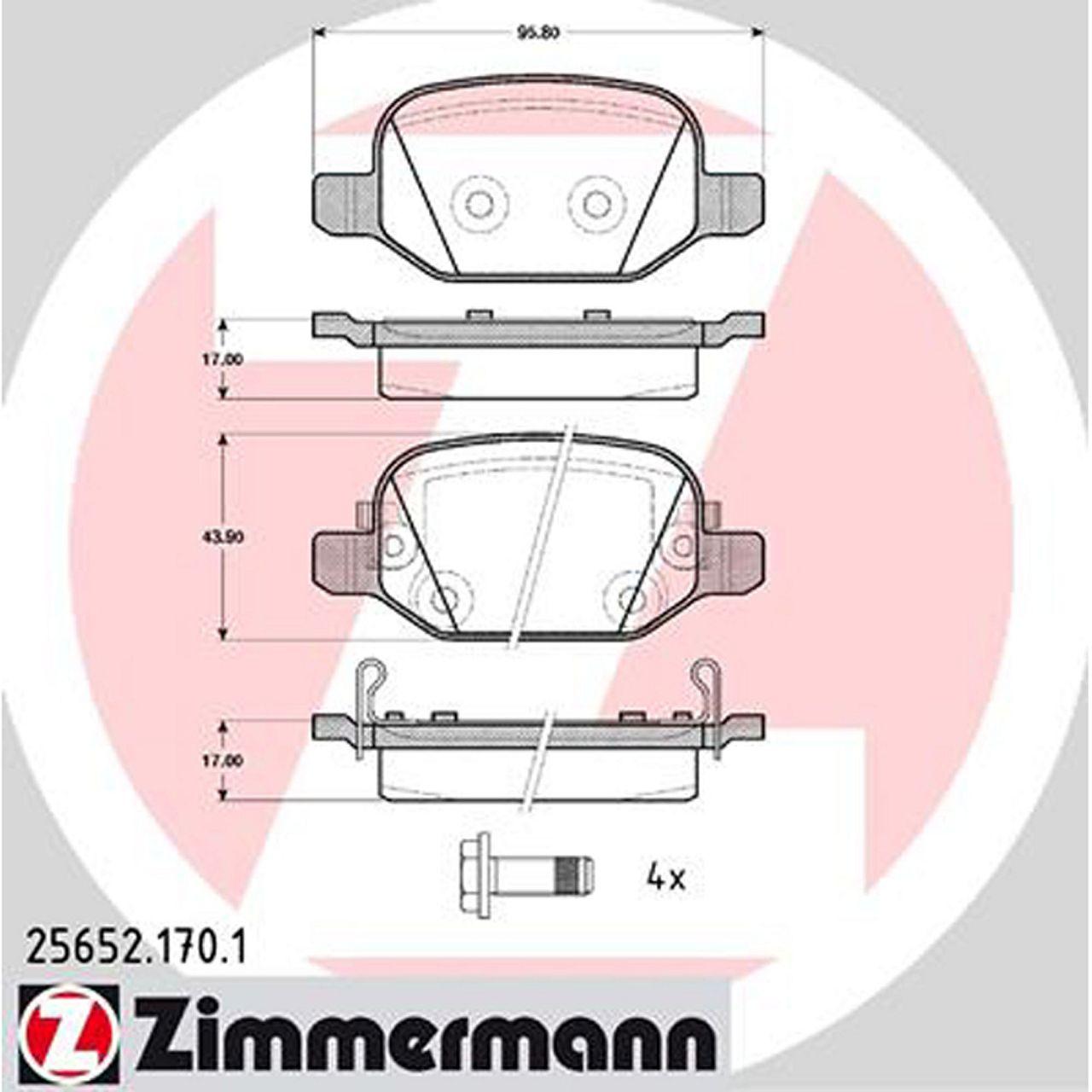 ZIMMERMANN Bremsen Bremsscheiben + Bremsbeläge für FIAT 500L (351_, 352_) hinten