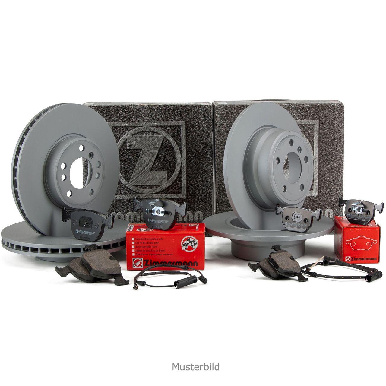 ZIMMERMANN Bremsscheiben Beläge + Wako für MERCEDES C-KLASSE W204 vorne + hinten