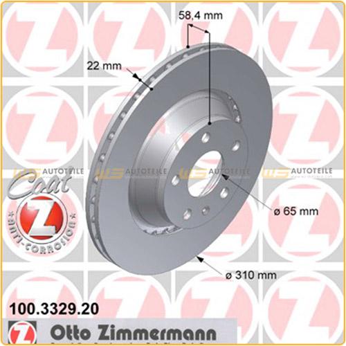 ZIMMERMANN Bremsscheiben + Bremsbeläge für AUDI TT (8J) 2.0 TFSI 2.0 TDI hinten