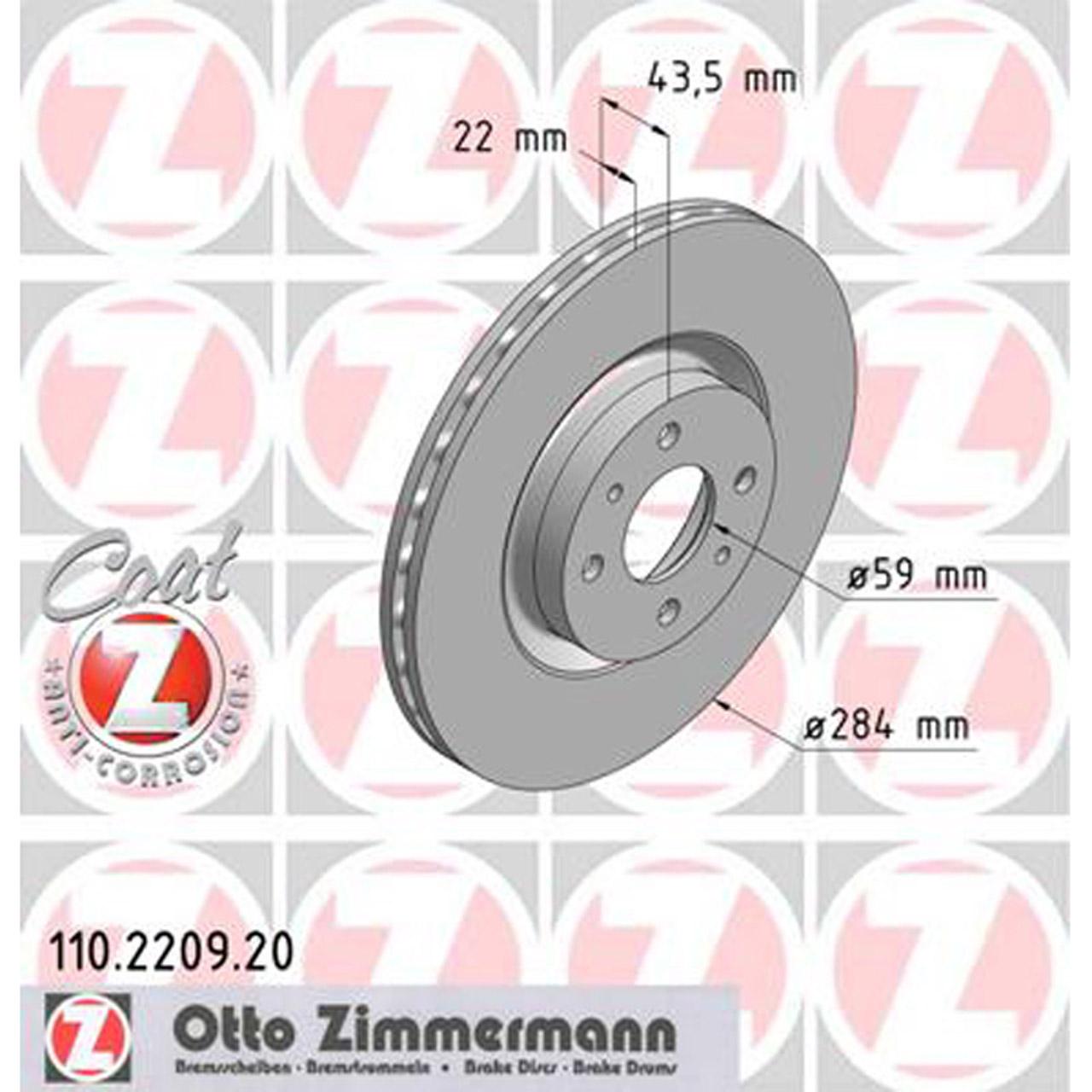 ZIMMERMANN Bremsscheiben Beläge + Wako für ABARTH 500 FIAT BRAVO II STILO vorne