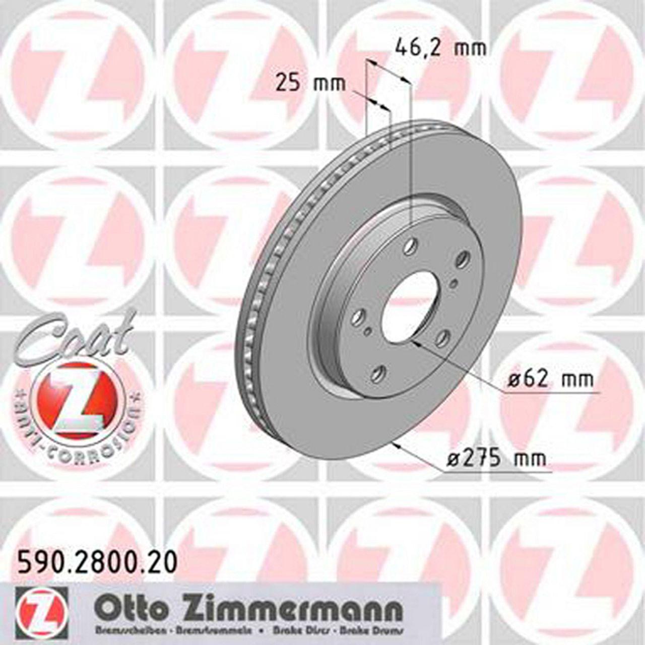 ZIMMERMANN Bremsscheiben + Beläge für TOYOTA RAV 4 (A3) 2.0 2.4 3.5 2.2 D vorne