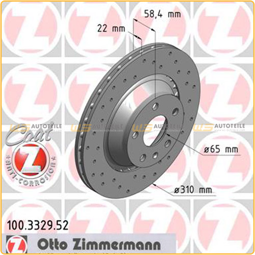 Zimmermann SPORT Bremsscheiben + Beläge für AUDI TT 3.2 V6 2.0 TTS vorne hinten
