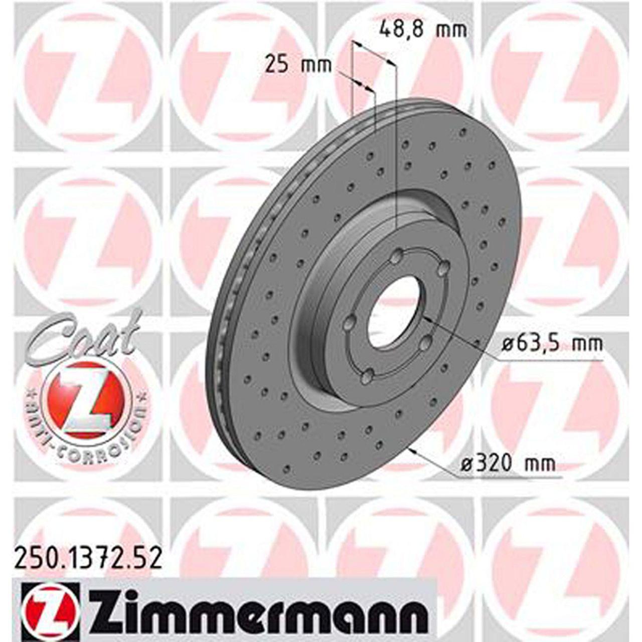 Zimmermann SPORT Bremsscheiben für Ford Focus III MK3 2.0ST Kuga II MK2 vorne
