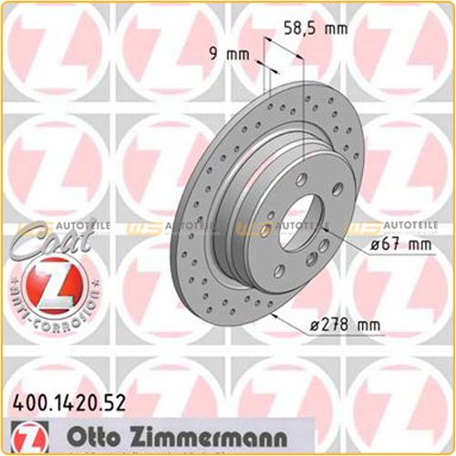 Zimmermann SPORT Bremsscheiben Beläge Wako für MERCEDES 190 W201 SL R129 hinten