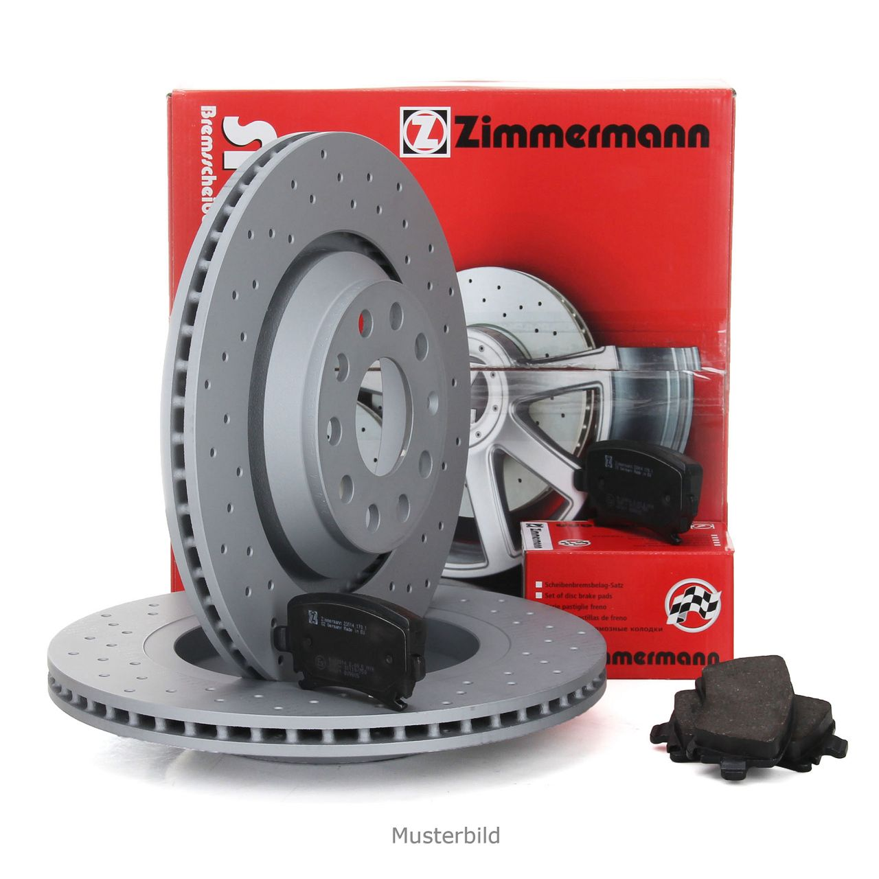ZIMMERMANN Bremsen SPORT Bremsscheiben Bremsbeläge für Mini R50 R53 Works vorne