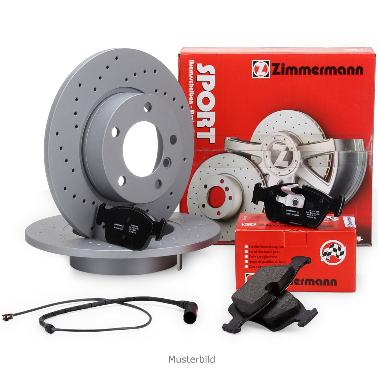 Zimmermann SPORT Bremsscheiben + Bremsbeläge + Wako für MERCEDES 190 W201 vorne