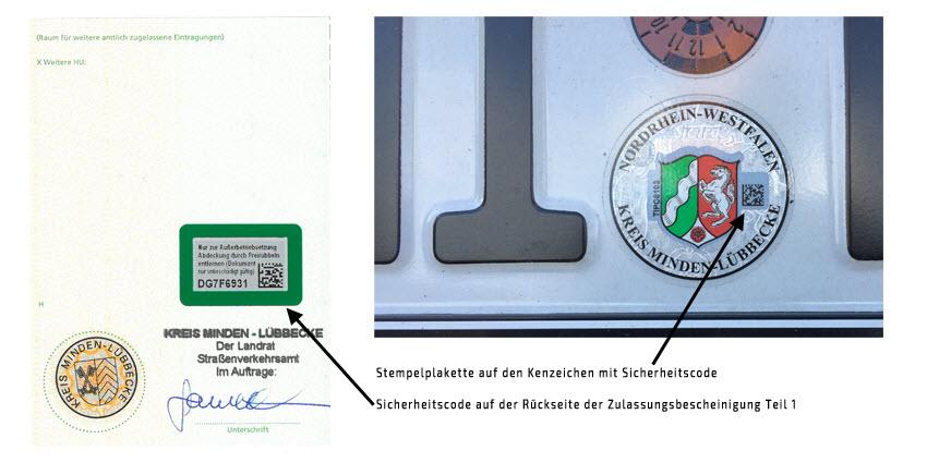 Rückseite Zulassungsbescheinigung Teil 1 und Stempelplakette beim Kennzeichen mit Sicherheitscodes