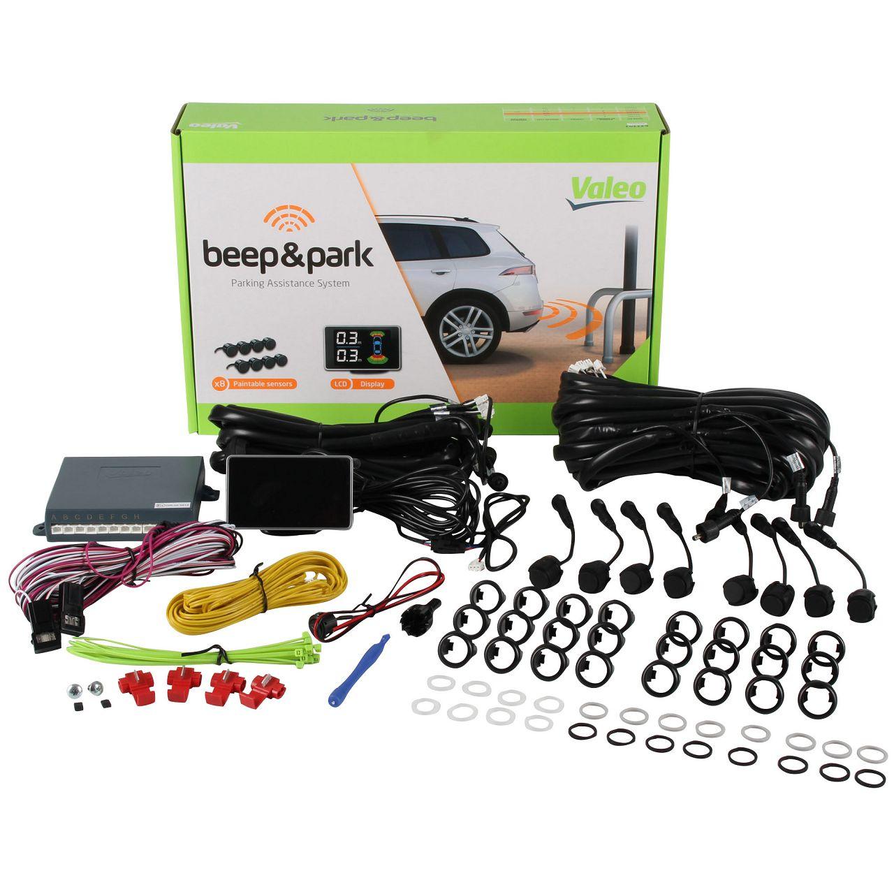 Valeo Beep & Park Kit Einparkhilfe mit 8 Sensoren und LCD Display für vorne und hinten mit Karton