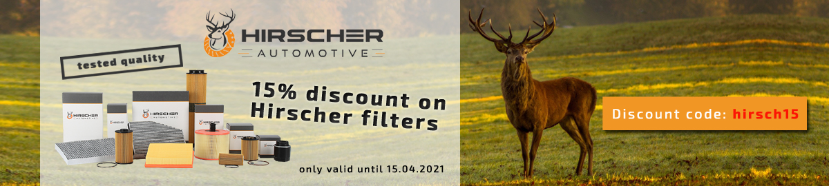 15% discount promotion on Hirscher filters